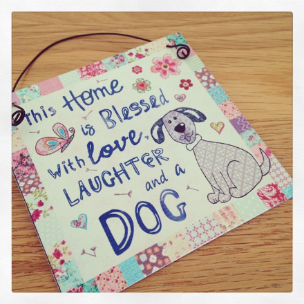 50% off This Home Is Blessed With Love, Laughter & A Dog mini Metal Sign